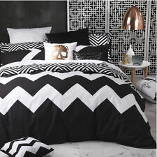 Logan and Mason MARLEY BLACK Chevron Queen Size Bed Doona Duvet Quilt Cover Set