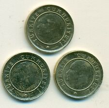 3 NICE 10 KURUS COINS from TURKEY (2011, 2012 & 2013)