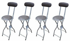4xBrown Padded Folding High Chair Breakfast Kitchen PVC Bar Stool Soft Seat 94cm