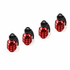 4pcs Auto Wheel Tire Valve Stems Red Grenade Aluminum Air Dust Cover Cap Covers