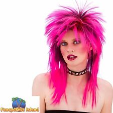 80s PINK PUNK ROCKER ROCK CHICK DIVA WIG womens ladies fancy dress costume