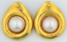 22K Yellow Gold & Pearl Vintage Handmade Zolotas Greece Earrings 35.8 gr