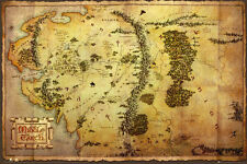 "The Hobbit Map LAMINATED POSTER ""Middle Earth Lord Rings"" BRAND NEW Licensed Art"