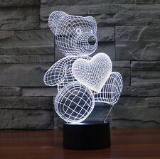 Little Bear Love Heart 3D Lamp For Kids Bedroom LED Touch Switch Night Light