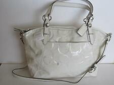 NEW COACH X-Large Patent Leather Tote Ivory White Embossed C Logo $398 Defects