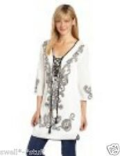 Rampage White with Black Scroll Print St. Tropez Dress Tunic Large NWT