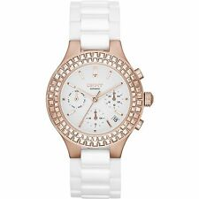 DKNY Women's Rose Gold Tone Chambers White Ceramic Bracelet Watch 38mm NY2225