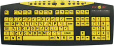 Used Large Print UK British USB Wired Typing Keyboards - Yellow For PC