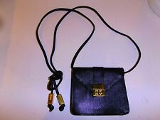 DKNY Vintage Black Caviar Leather Mini Crossbody Waist Pouch Bag Purse Handbag