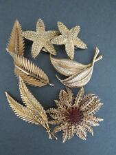 Vintage Golden Brooches Earrings Job Lot of 8 Sara Cov Ciro