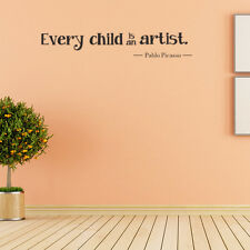 DIY Every Child Is An Artist Inspirational Quote Wall Stickers Art Decals Vinyl