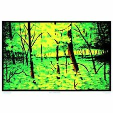 SUMMER WOODS - BLACKLIGHT POSTER - 24X36 FLOCKED NATURE TREES 6017