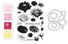 "Hero Arts ""WATER LILIES"" Clear Stamps + Frame Cuts Dies + Mini Ink Pad Set"
