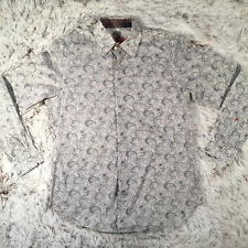 ROBERT GRAHAM Womens Grey Paisley Shirt Blouse Top Medium Silk Flip Cuffs
