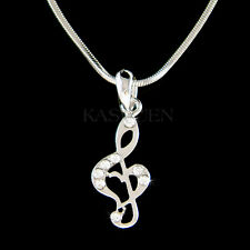 w Swarovski Crystal TREBLE G CLEF Love MUSIC MUSICAL NOTE Heart Necklace Jewelry