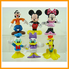 "6 pcs Mickey Minnie Mouse Clubhouse Donald Duck 2.5"" Cake Toppers Figures +CHARM"