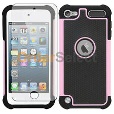 Hybrid Rugged Rubber Matte Case+Screen Guard for Apple iPod Touch 5 5th Gen Pink