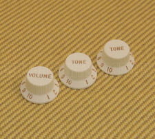 005-6254-049 Fender USA Guitar Strat Volume Tone Knobs Set of 3 - Parchment