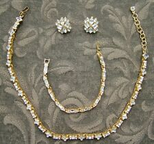 Vintage MONET CLEAR RHINESTONE GOLDTONE NECKLACE BRACELET CLIP-ON EARRING SET VG