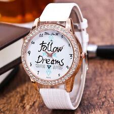 Fashion Women Watch Stainless Steel Crystal Diamonds Leather Quartz Wrist Watch