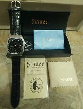 New STAUER Stainless Steel Automatic 21 Jewels Black Leather Band Watch