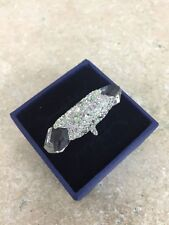 Swarovski Swan Signed Multi Crystal /Large Crystal Size 52 Ring with Box Pretty!