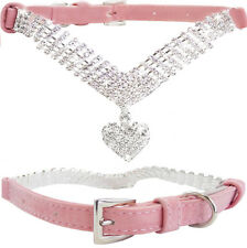 Small Pink Suede Leather Bling BIG LOVING HEART Diamond Collar for Dogs & Puppy