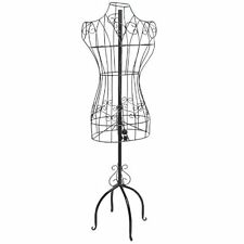 Designers Black Metal Adjustable Height Wire Frame Dress Form Display Stand with