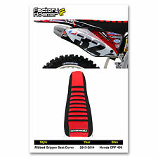 2013-2015 HONDA CRF 450 SEAT COVER RIBBED Black & Red/Black Ribs by Enjoy MFG