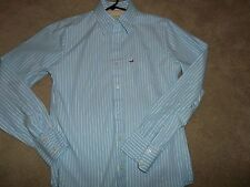 Men's HOLLISTER LS Shirt Lt Blue Stripe Size Small