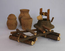 Nativity Accessories Well Clay Jars Wooden Ladder Log Stacks Burlap Sacks 7 PC