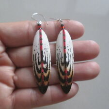 Feather Earring in Acrylic Color Buffalo Bone Carving with Silver 080112