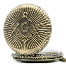 Retro Bronze Masonic Freemason Men Women Quartz Pocket Watch Necklace Pendant