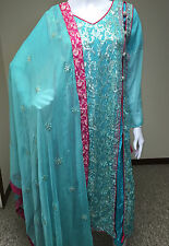 Indian Pakistani Designer Salwar Kameez Party Blue Bridal Gown Embroidery , M