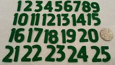 Green Felt Fabric Advent Numbers 1 to 25 Premium 40% Wool Blend Felt.