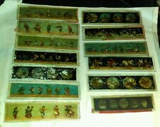 Vintage Mixed Lot Glass Magic Lamp Slide Viewer Colored Cartoon Slides Plates