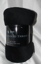 "PERSONAL FAMILY THROW SOLID SUPER SOFT BLANKET TRAVEL FLEECE 50""X60"" BLACK"