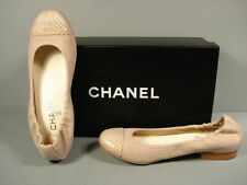 CHANEL CLASSIC GATHERED BEIGE CANVAS SNAKE ROUND TOE BALLERINA FLATS CC 38 NEW
