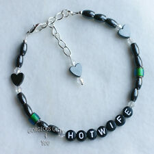 HOTWIFE OR ANY NAME / WORDS  Mood Bead Magnetic Hematite Anklet Ankle Bracelet
