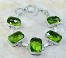 LOVELY NEW HUGE 16X23MM GENUINE  FACETED GREEN PERIDOT 925 SILVER BRACELET 7-8""