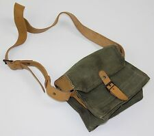 FRANCE FRENCH ARMY CANVAS & LEATHER AMMO SHOULDER BAG 21x19x10cm