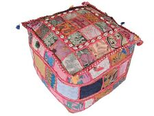 Indian Decor Ottoman Pouf Fabric Floor Pouffe Embroidered Beaded Home Accent