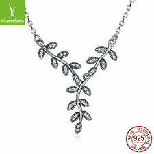 Sparkling Bow Leaves Pendant Necklaces, Authentic 925 Sterling Solid DIY Jewelry