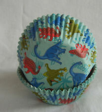 50 colorful Dinosaur green cupcake liners baking paper cup muffin cases 50x33mm