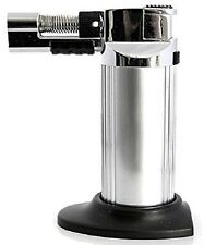 Multi-Purpose Refillable Butane Torch/Soft Flame Cigar Lighter-Silver