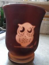 Vintage Owl drinking glass? / vase  with mirror inside