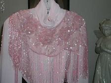 SEQUIN SHAWL WRAP PASTEL PINK GLITTERING  MOTHERS DAY GIFT PROM FORMAL WEDDING