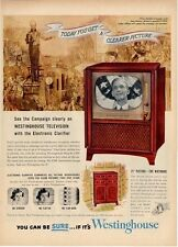 "1952 Westinghouse Cabinet Television TV   21"" Whitmore PRINT AD"