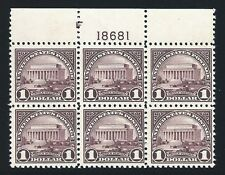 US Stamps: 571 Plate Block 6 Mint, og, Never Hinged (cv$525.00)