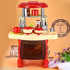 Kid Kitchen Cooking Pretend Role Play Toy Set with Light Sound Effect
